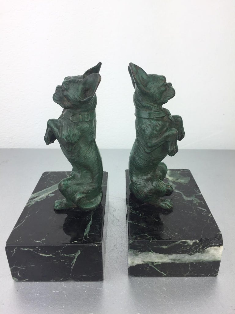 Art Nouveau French Bulldog Bookends, Bronze and Marble, Europe For Sale 2