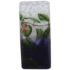 Art Nouveau French Cameo etched & enamelled Glass 'Fuschia Vase' by Daum Fréres