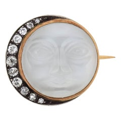 Art Nouveau French Carved Moonstone Face and Diamond Crescent Pin