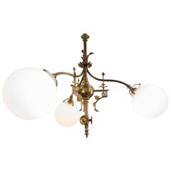 Art Nouveau French Cast Bronze Mercury Gold and White Opalines Chandelier, 1900