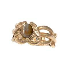 Art Nouveau French Chysoberyl Cat's Eye Snake Ring, 1900's