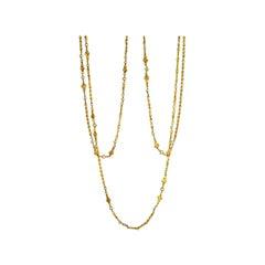 Art Nouveau French Gold Natural Pearl Long Chain, circa 1900