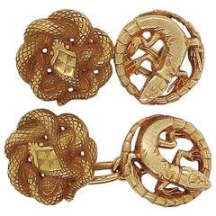 Art Nouveau French Gold Snake Lizard Cufflinks