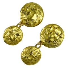 Art Nouveau French Ivy Leaves 18K Yellow Gold Cufflinks