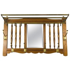 Art Nouveau French Oak and Brass Coat and Hat Wall Rack with Beveled Mirror