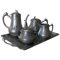 Art Nouveau French Pewter Coffee Service Set