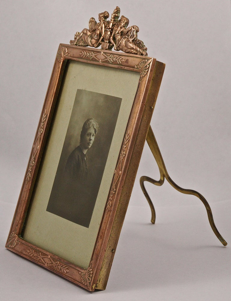 Women's or Men's Art Nouveau French Picture Frame with a Lady Portrait Photograph  For Sale