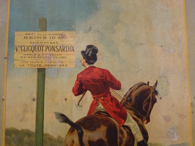 Early 20th Century Art Nouveau French Poster Printed on Coadboard Signed,