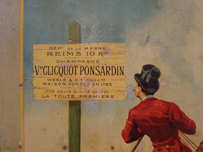Paper Art Nouveau French Poster Printed on Coadboard Signed,