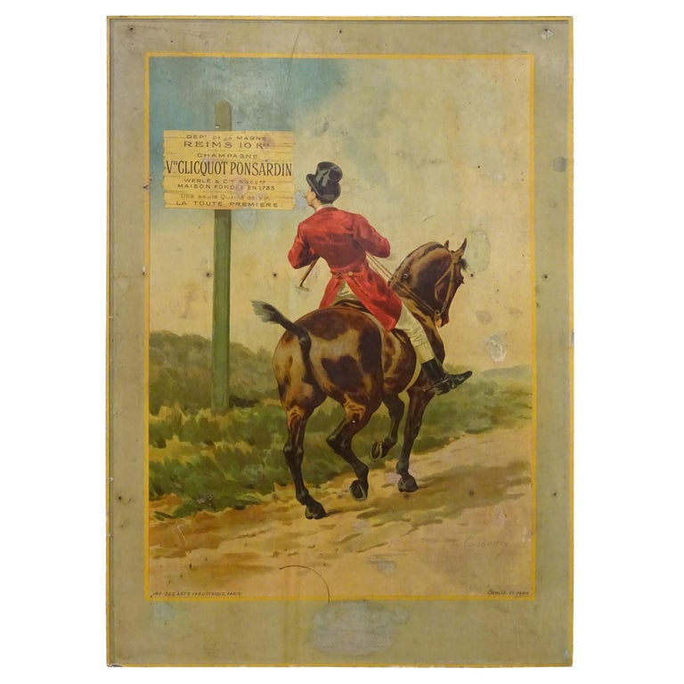 """Art Nouveau French Poster Printed on Coadboard Signed, """"Champagne Veuve Cliquot For Sale"""