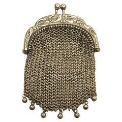 Art Nouveau French Silver Handbag Purse Dated circa 1900