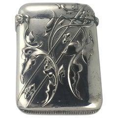 Art Nouveau French Silver Match Box, Intricate Details