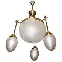 Art Nouveau French White Cut Crystal and Golden Bronze Chandelier, 1900