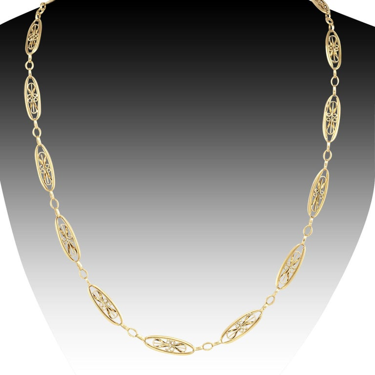 Art Nouveau French Yellow Gold Chain Necklace In Good Condition For Sale In Los Angeles, CA