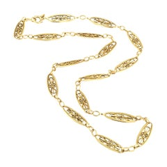 Art Nouveau French Yellow Gold Chain Necklace