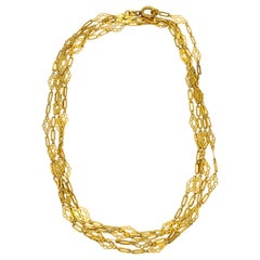 Art Nouveau French Yellow Gold Long Chain Necklace
