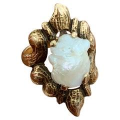 Art Nouveau Freshwater Pearl 10 Karat Yellow Gold Ring