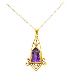 Art Nouveau Freshwater Pearl Fantasy Cut Amethyst 14 Karat Gold Pendant Necklace