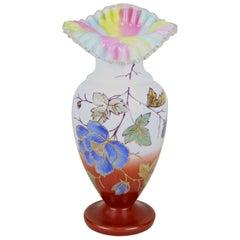 Art Nouveau Frilly Glass Vase with Enamel Paintings, Austria, circa 1900