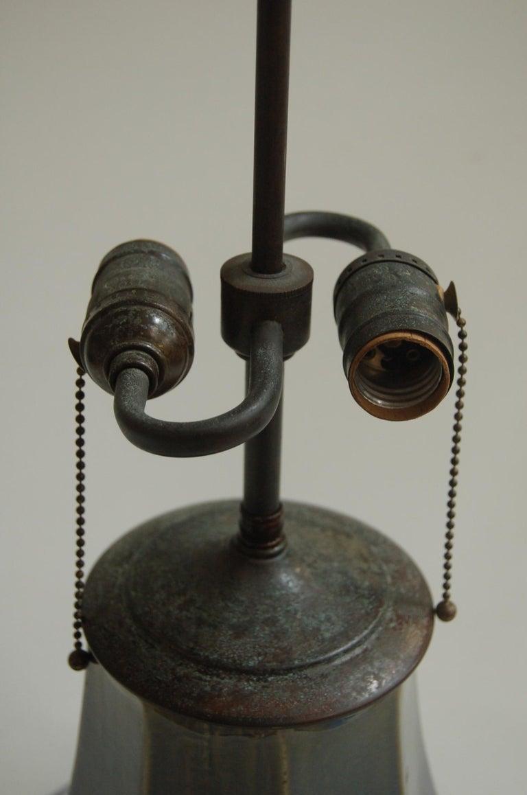 Ceramic Art Nouveau Fulper Style Pottery Taple Lamp w/ Bronze Hardware For Sale