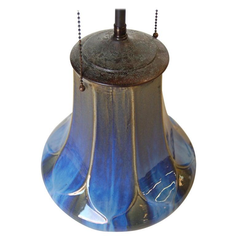 Art Nouveau Fulper Style Pottery Taple Lamp w/ Bronze Hardware For Sale