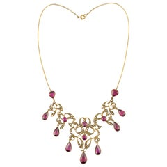Art Nouveau Garnet and Seed Pearl Festoon Necklace