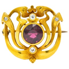 Art Nouveau Garnet Old Mine Cut Diamond 14 Karat Gold Whiplash Brooch