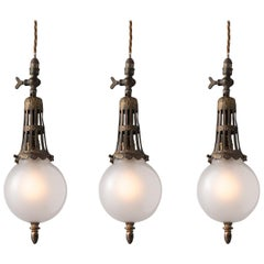 Art Nouveau Gas Lamp Pendants, England, circa 1890