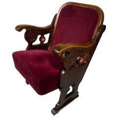 Art Nouveau Gaudi Style Catalan Read Velvet Theater Seat