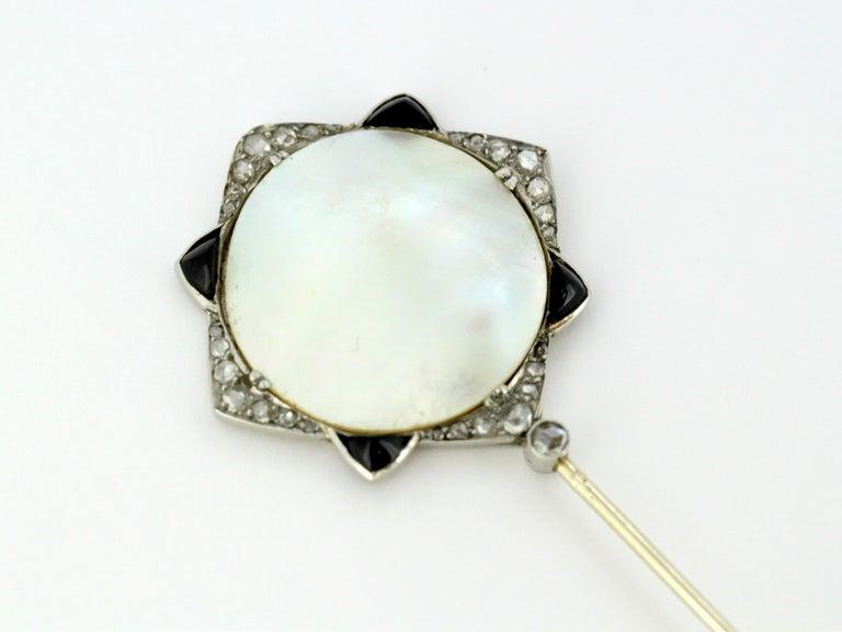 Women's or Men's Art Nouveau Georges Fouquet Platinum Brooch Pin, Mother of Pearl, Onyx, Diamonds For Sale