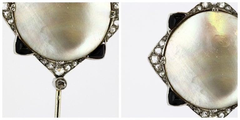 Art Nouveau Georges Fouquet Platinum Brooch Pin, Mother of Pearl, Onyx, Diamonds For Sale 2
