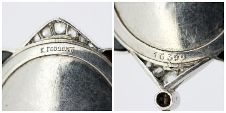 Art Nouveau Georges Fouquet Platinum Brooch Pin, Mother of Pearl, Onyx, Diamonds For Sale 4