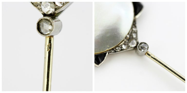 Art Nouveau Georges Fouquet Platinum Brooch Pin, Mother of Pearl, Onyx, Diamonds For Sale 5