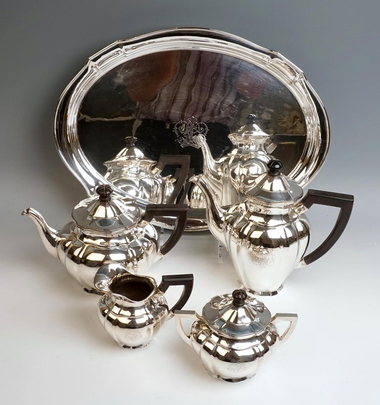 Hand-Crafted Art Nouveau German Silver 5-Piece Coffee & Tea Set by Weinranck & Schmidt Hanau  For Sale
