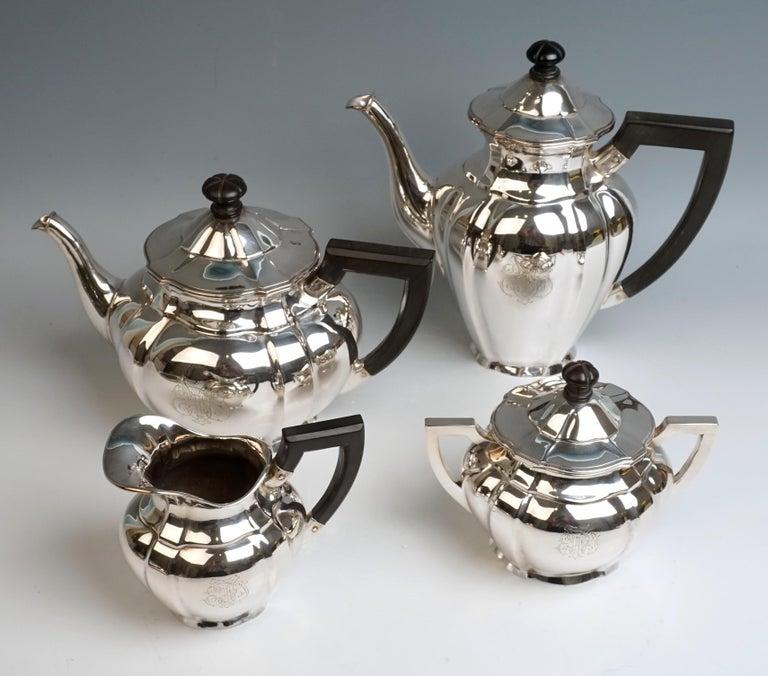 Art Nouveau German Silver 5-Piece Coffee & Tea Set by Weinranck & Schmidt Hanau  In Excellent Condition For Sale In Vienna, AT