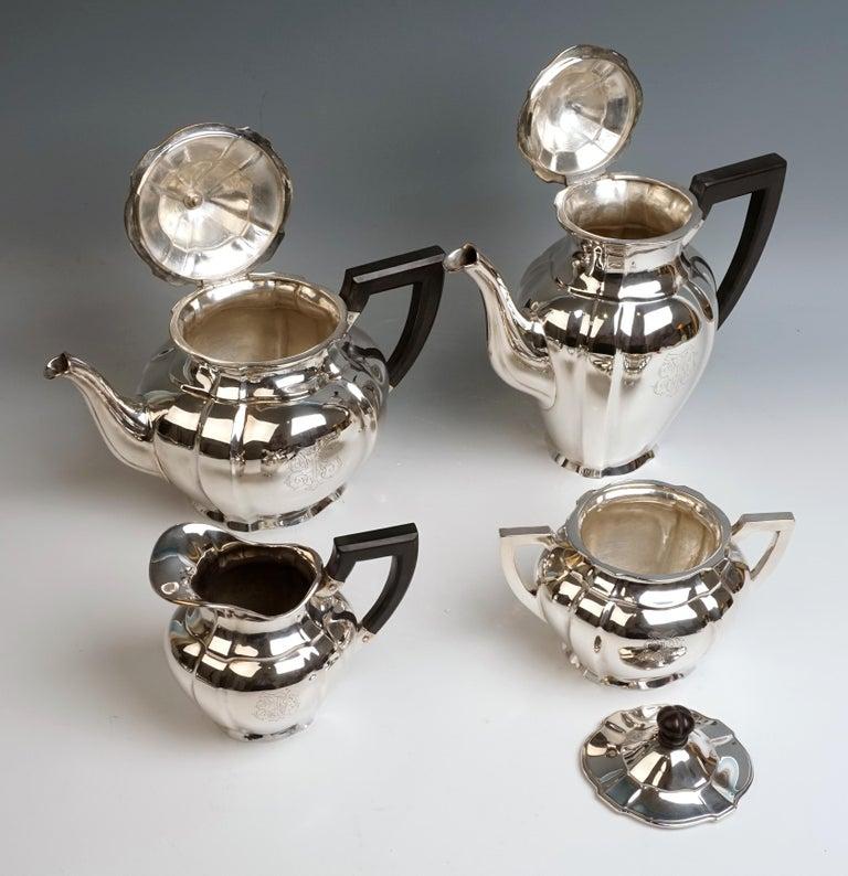 Early 20th Century Art Nouveau German Silver 5-Piece Coffee & Tea Set by Weinranck & Schmidt Hanau  For Sale