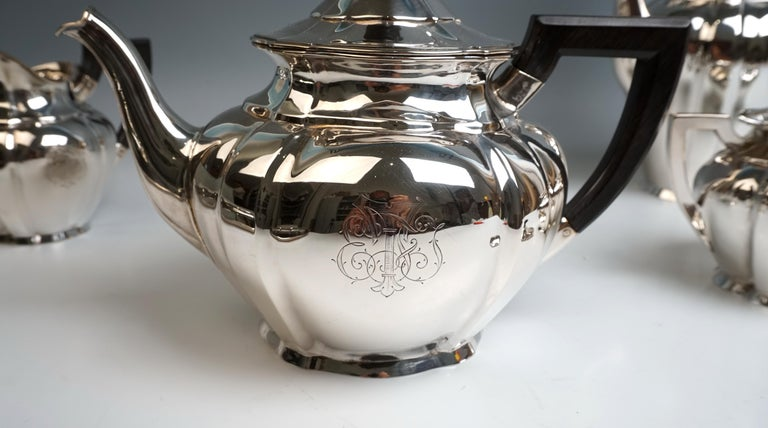 Art Nouveau German Silver 5-Piece Coffee & Tea Set by Weinranck & Schmidt Hanau  For Sale 1