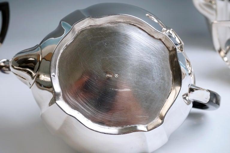 Art Nouveau German Silver 5-Piece Coffee & Tea Set by Weinranck & Schmidt Hanau  For Sale 2