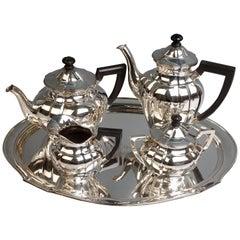 Art Nouveau German Silver 5-Piece Coffee & Tea Set by Weinranck & Schmidt Hanau