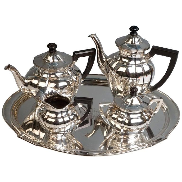 Art Nouveau German Silver 5-Piece Coffee & Tea Set by Weinranck & Schmidt Hanau  For Sale