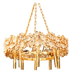 Art Nouveau Gilded Brass and Glass Eight-Light Chandelier