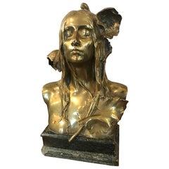 Art Nouveau Gilded Bronze Maurice Bouval Women Sculpture, 1900s