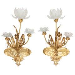 Art Nouveau Gilded Bronze Sconces