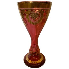 Art Nouveau Gilt and Ruby Glass Vase, circa 1900