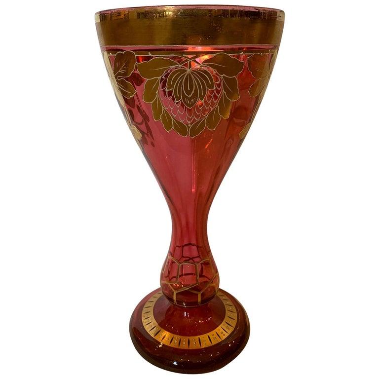 Art Nouveau Gilt and Ruby Glass Vase, circa 1900 For Sale