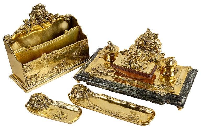 Art Nouveau Gilt Bronze Desk Set by Albert Marionnet For Sale 4