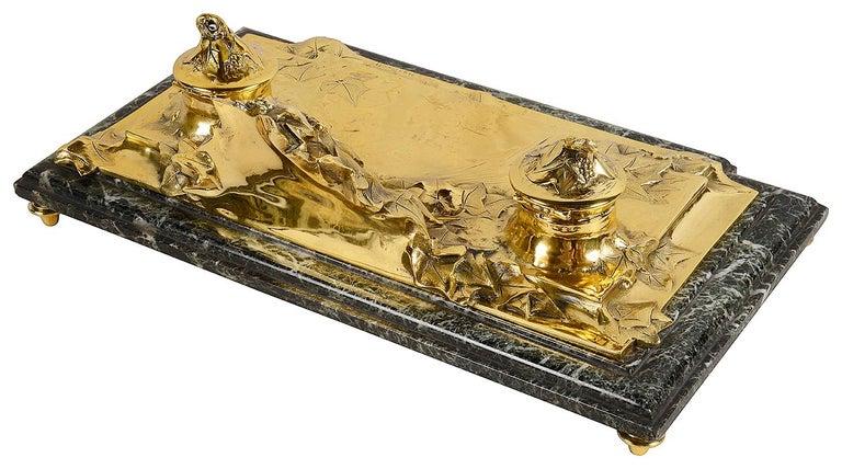 French Art Nouveau Gilt Bronze Desk Set by Albert Marionnet For Sale