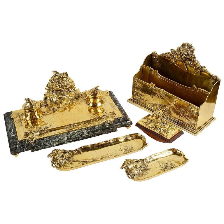 Art Nouveau Gilt Bronze Desk Set by Albert Marionnet For Sale
