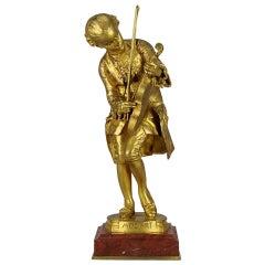 Art Nouveau Gilt Bronze Entitled 'Mozart' by Barrias