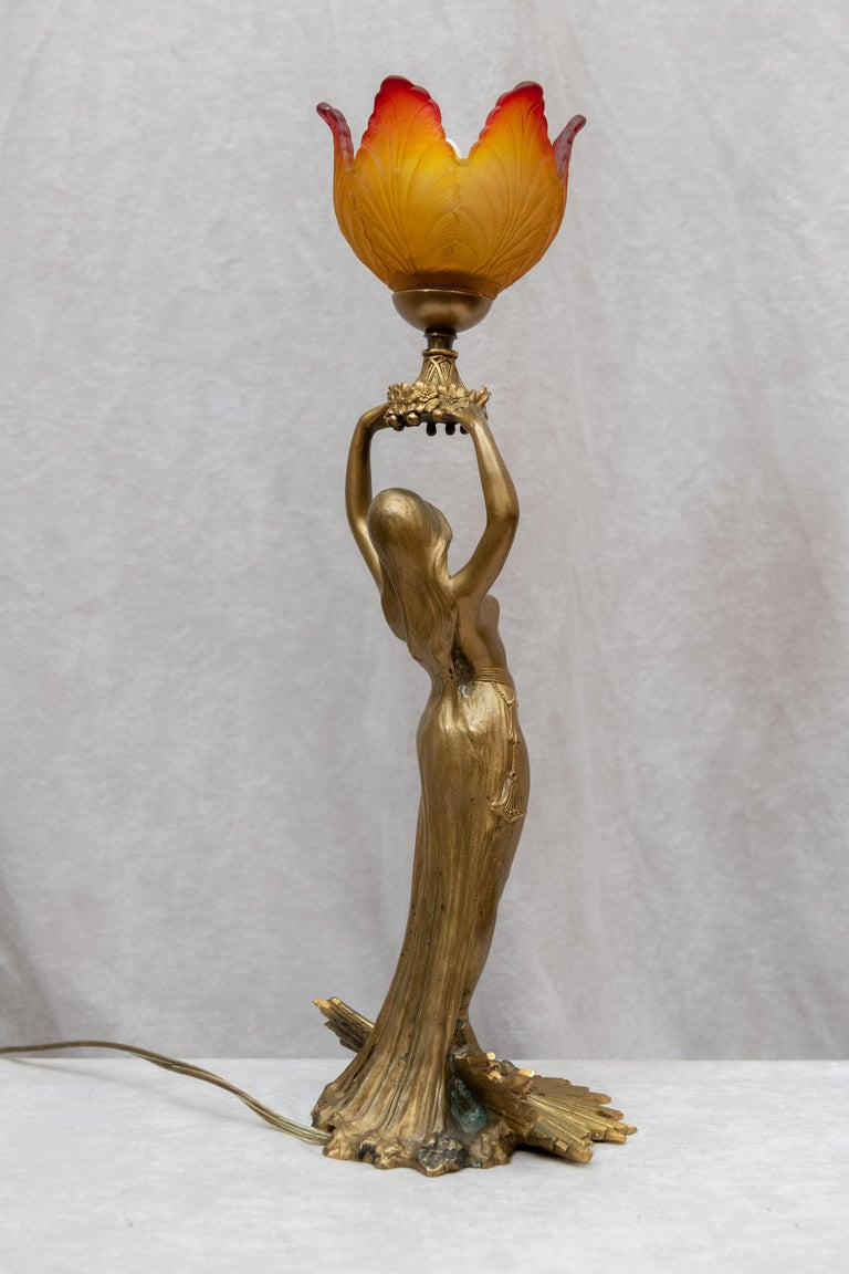 Art Nouveau Gilt Bronze Figural Lamp, French, Signed A. Fery, circa 1900 For Sale 2